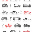 Set of cars sketch and traffic signs for your design — Stock Vector #9155816