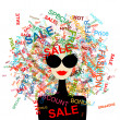 Stock vektor: I love sale! Fashion womwith shopping concept for your design