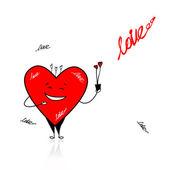 Dag van de valentijnskaart. grappige hart met bouquet voor uw ontwerp — Stockvector