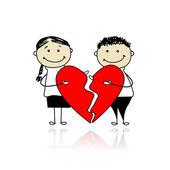 Dag van de valentijnskaart. met twee delen van grote rode hart (echt) paar — Stockvector