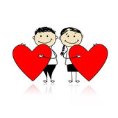 Valentine day. Couple with big red hearts for your design — Stock Vector