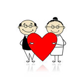 Valentine day. Couple with big red heart for your design — Stock Vector