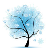 Winter tree with diamonds for your design — Stock Vector