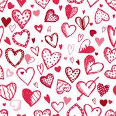 Seamless mönster med valentine hjärtan, skiss teckning för din design — Stockvektor