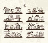 Croquis de maisons mignons sur étagères pour votre conception — Vecteur