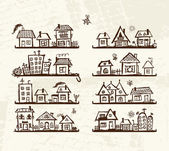 Sketch of cute houses on shelves for your design — Vecteur