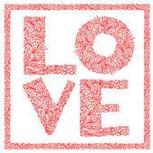 слово любовь с цветочным орнаментом для вашего дизайна — Cтоковый вектор