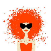 Woman portrait with orange hairstyle, summer style for your design — Stock Vector