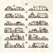 Instellen van auto's en verkeer borden op winkel schappen, schets voor uw ontwerp — Stockvector