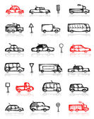 Ensemble de croquis de voitures et de la circulation des signes pour votre conception — Vecteur