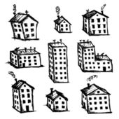 Set of houses sketch for your design — Stock Vector