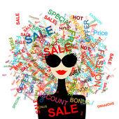 Amo la vendita! donna moda con negozi di concetto per il vostro disegno — Vettoriale Stock