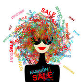 I love sale! Fashion woman with shopping concept for your design — Stock Vector