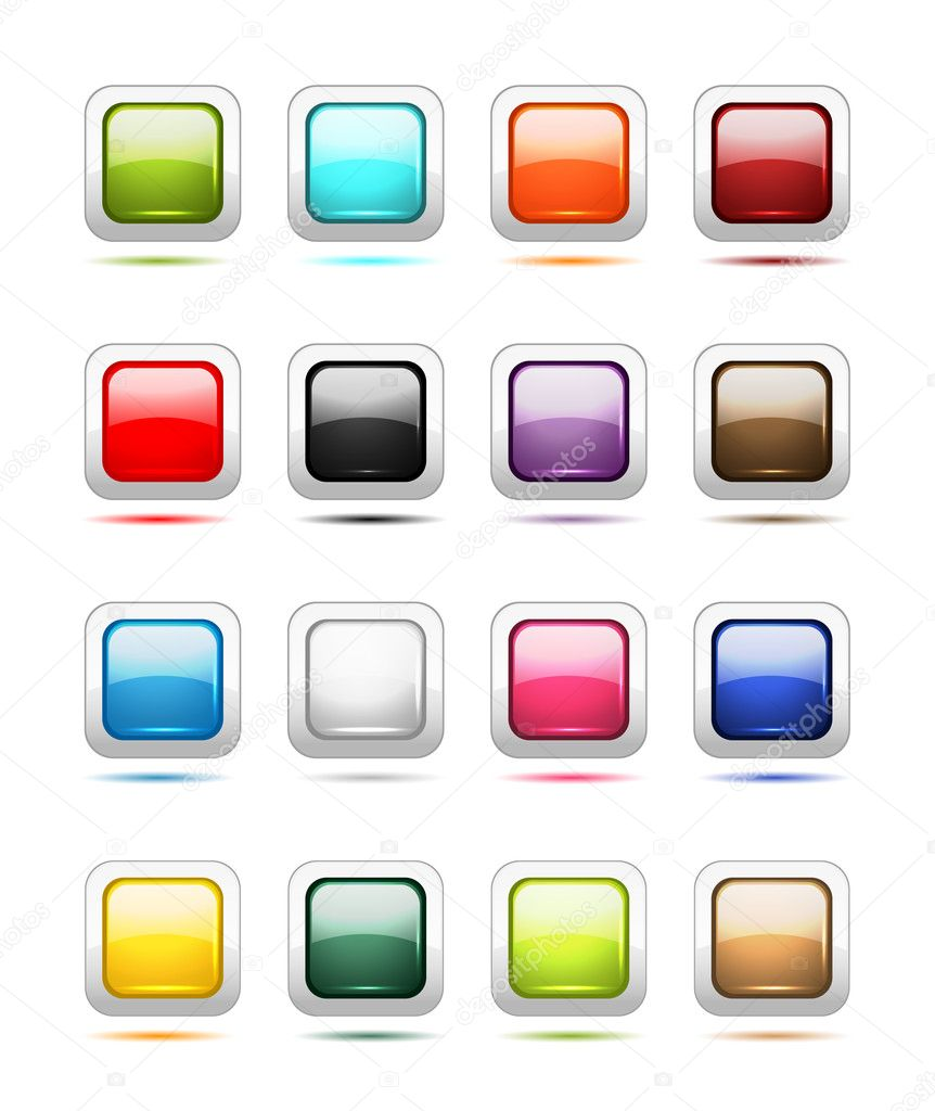 Set of glossy button icons for your design  Stock Vector #9155790