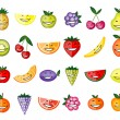 Funny fruit characters smiling for your design — Stock Vector