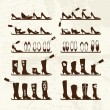 Shoes shop, boots on shelves, sketch for your design — Stockvectorbeeld