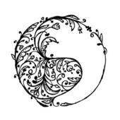 Yin ヤン記号、あなたのデザインのためのスケッチ — ストックベクタ