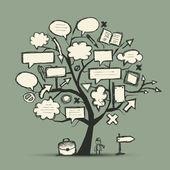 Esboço da árvore com flechas e quadros para seu projeto — Vetorial Stock
