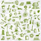 Spring. Garden tools sketch for your design — Stock Vector