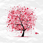 Valentine tree with hearts for your design — Stock Vector