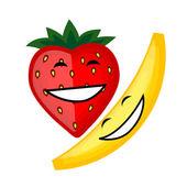 Divertenti frutti sorridente insieme per il vostro disegno — Vettoriale Stock