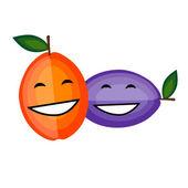 веселые фрукты вместе улыбаясь для вашего дизайна — Cтоковый вектор