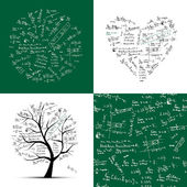 Math collection: frame, tree, seamless background — Wektor stockowy