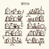 Shopping bags on shelves, big sale — Stockvector