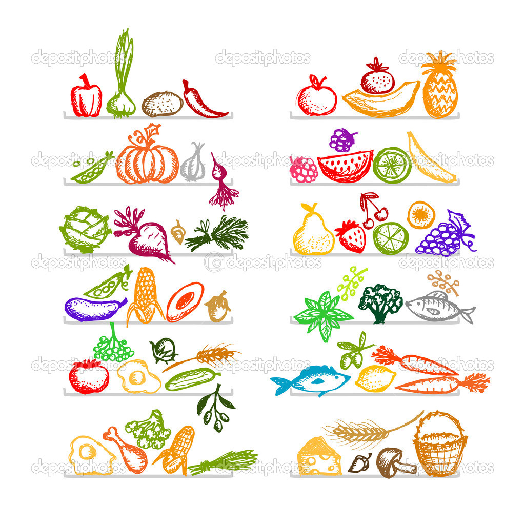 Healthy food on shelves, sketch for your design — Stock Vector #9489403