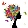 Female head with hairstyle made from butterflies for your design — Stock Vector
