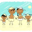 Royalty-Free Stock Vector Image: Summer holidays. Happy family on the beach