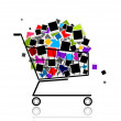 Pile of photos in shopping cart for your design - Stock Vector