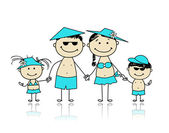 Vacaciones de verano. familia feliz para su diseño — Vector de stock