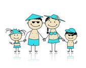 夏の休日。あなたの設計のための幸せな家族 — ストックベクタ