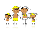 Summer holidays. Happy family for your design — Stock Vector