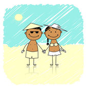 Summer holidays. Happy couple on the beach — Stock Vector