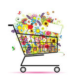 Floral bouquet in shopping cart for your design — Stock Vector