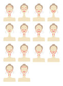Massage lines on woman face — Stock Vector