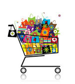 Supermarket cart with shopping bags for your design — Stock Vector