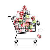 Pile of eggs in shopping cart for your design — Stock Vector