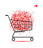 Cloud of hearts in shopping cart for your design — Stock Vector