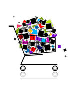 Pile of photos in shopping cart for your design — Stock Vector