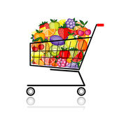 Fruits in shopping cart for your design — Stock Vector