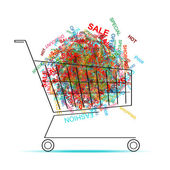 Shopping words in cart for your design — Stock Vector