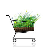 Spring grass in shopping cart for your design — Stock Vector