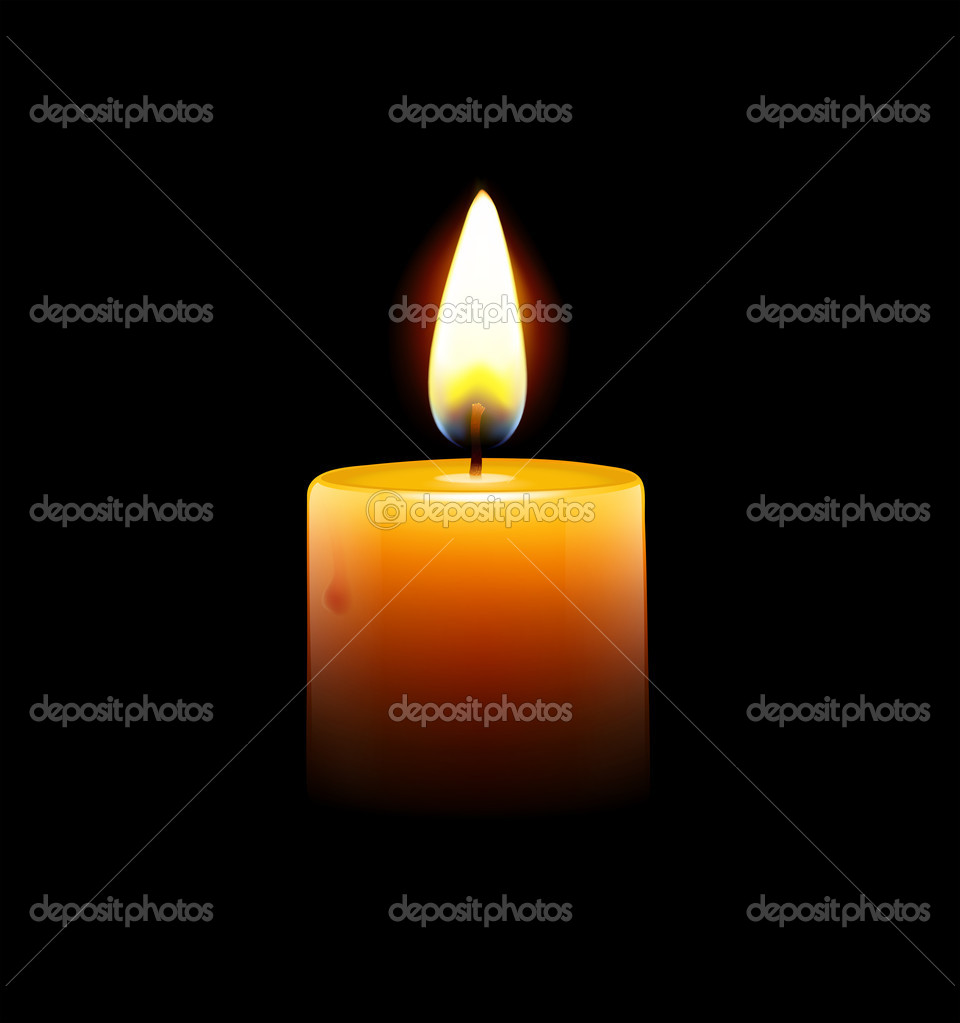 Illustration of yellow candle on black background  Foto Stock #10426280