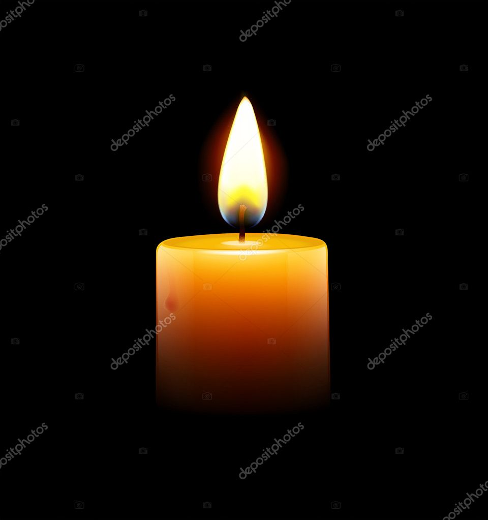 Illustration of yellow candle on black background — Foto Stock #10426280