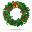Christmas green wreath — Stock Vector