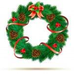 Christmas green wreath — Stock Vector #8202199