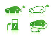 Electric powered car icons — Stock Vector